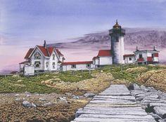 Eastern Point Lighthouse by Thelma Winter Lighthouse Art, Winter Art, Lighthouses, Beaches, North America, Folk Art, Art Decor, Nautical, Coastal