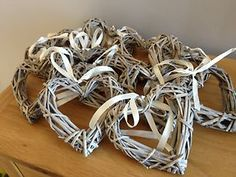 Wicker hearts for pew ends