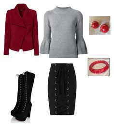 """Vintage Red Jewelry to Doll Up Evening to Day Outfit"" by lucy-logsdon on Polyvore featuring Carolina Herrera, Exclusive for Intermix, Greylin and vintage"