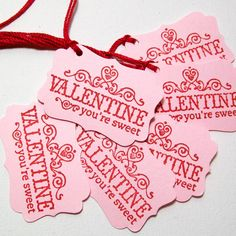Valentine's Day Tags  Hand Stamped Pink and Red by AcarrdianCards, $4.95