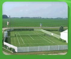 Not a bad grass court Tennis Photos, Lawn Tennis, Tennis Clubs, Iowa, Grass, Around The Worlds, Backyard, Sports, Bucket