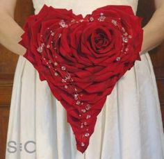 Red silk rose petal heart bouquet, with a curl of crystals Silk Rose Petals, Silk Roses, Red Roses, Bride Bouquets, Floral Bouquets, Hand Bouquet, Valentines Day Weddings, Red Wedding, Red Rose Wedding Bouquet