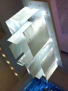 Plice in white, Artisan Made Hand Crafted, Fused Glass Lighting; www.BahirLighting.com