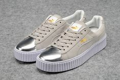 watch b8799 9730f Achat Homme Femme Grise Silver Puma by Rihanna Suede Creepers Chaussures Moins  Cher Soldes