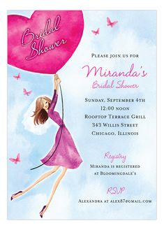 Butterflies And Balloons Invitation #Bridal #Luncheon #Shower