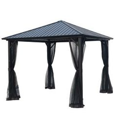 Laurel Canyon 10 Ft X 10 Ft Black Hardtop Galvanized Steel Metal Outdoor Patio Gazebo Hd Gazht1010 The Home Depot In 2020 Patio Gazebo Gazebo Steel Gazebo