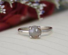 Rose Cut Gray Diamond Ring Prong Setting Rose Cut Diamond