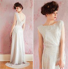Sarah Seven 1920's Silver Glam Wedding Gown sarahseven.com