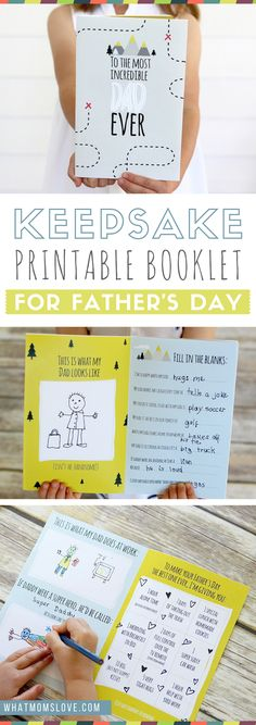 Free Printable Fathers Day Card | All About Dad or Grandpa Book for kids to make - a unique personalized gift idea. Includes a fun questionnaire, coupons for Dad, and space to draw and color. The perfect DIY homemade card for Fathers Day. via @whatmomslove