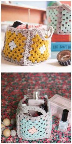 DIY Mini granny square crochet baskets...how to... by MyLittleCornerOfTheWorld