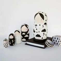 Black and White Nesting Dolls Matryoshka Weather by SketchInc