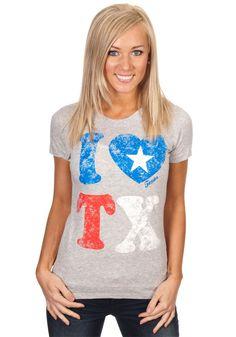 """I Love TX"" Texas Shirts, Loving Texas, Texas Pride, Workout Shirts, V Neck, Gray, My Love, Tees, My Style"