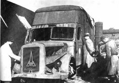 A model of Magirus-Deutz gas van used by the Nazis for suffocation at the Chelmno extermination camp; the exhaust fumes were diverted into the sealed rear compartment where the victims were locked in. This particular van had not been modified yet, as noted in Nazi Conspiracy and Aggression (1946),[22] but it demonstrates the method