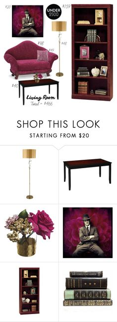 """Under $500: Living Room"" by saifai ❤ liked on Polyvore featuring interior, interiors, interior design, home, home decor, interior decorating, Linon, Paper Whites, Bush Furniture and Cost Plus World Market"