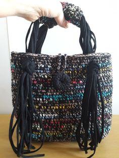 Crochet Handbags, Crochet Bags, Knitted Bags, Yarn Bag, Crochet Tunic, Craft Bags, Patchwork Bags, T Shirt Yarn, Handmade Decorations