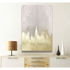 Mercer41 Offwhite Starry Night Painting Print on Wrapped Canvas