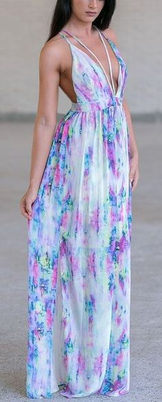 Love the watercolor effect. While it is a maxi, it's a touch skimpy...