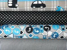 Stoffpaket Autos 4 x 0,5 m türkis-schwarz-weiß von Mialana auf DaWanda.com