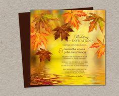 Fall Wedding Invitation Printable Falling by iDesignStationery