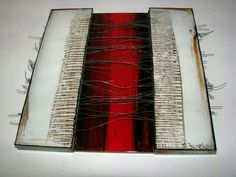 M Beneke fused glass textured tiles 17x17cm