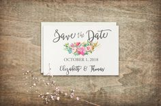 Save the date card DIY wedding card Printable by TwoBrushesDesigns