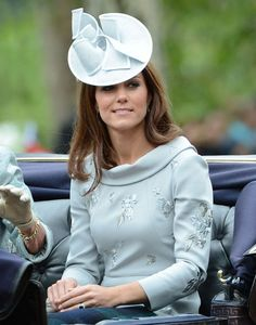 The Duchess wearing a Erdem dress and Jane Corbett hat to Trooping The Colour 2012