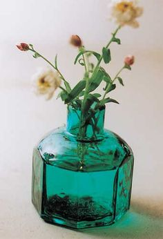 blue-green glass with wild flowers
