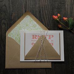 modern wedding invitation with a rustic feel, succulent wedding invitation, coral and green, coral and white, coral and kraft, letterpress wedding invitations