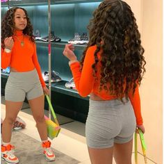 High Cut Neon Bodysuit is that a mirror cuz how she standing in two different position Cute Swag Outfits, Chill Outfits, Dope Outfits, Short Outfits, Trendy Outfits, Summer Outfits, Fashion Outfits, Black Girl Fashion, Look Fashion