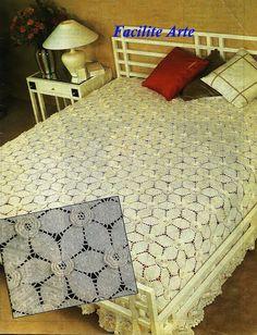 Crochê Colcha 4 - Módulos Hexagonal com flor Maravilhosa -