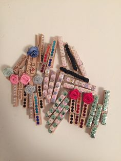 Mini pegs decorated clothespins medium wooden by AlexArtDreams