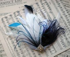 Peacock Feather Hair Clip Fascinator In Plum & Ivory