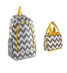 Grey and Yellow Chevron Backpack W Matching Lunch Bag - Handbags, Bling & More!