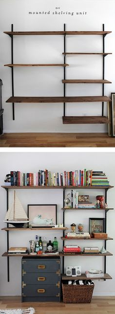 Office Design: Superb Office Wall Shelves Cabinets Diy Wall Mounted Shelving Home Office Wall Shelving Ideas: Office Wall Shelf Design Decor Room, Diy Wall Decor, Diy Home Decor, Wall Mounted Shelves, Wooden Wall Shelves, Hanging Shelves, Deco Design, Home Projects, Diy Furniture