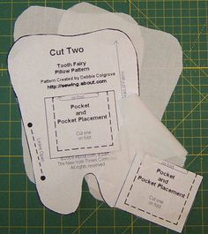 Sewing Pillows Free Pattern and Directions to Sew a Tooth Fairy Pillow: Cutting - Know a child with a loose tooth? Sew this tooth-shaped pillow with a pocket to hold a tooth as well as a gift from the tooth fairy! Sewing For Beginners Clothes, Sewing Projects For Kids, Sewing For Kids, Sewing Clothes, Sewing Toys, Dress Sewing, Doll Clothes, Beginners Sewing, Sewing Hacks