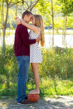 Senior boy: couple, basketball pose