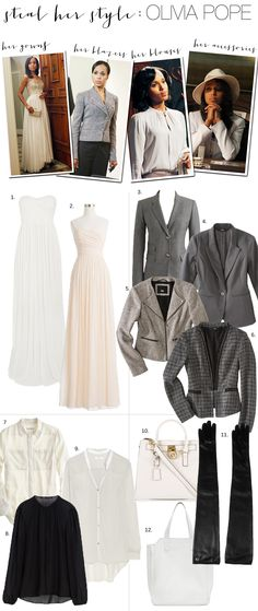 We found some fab (and affordable) Olivia Pope fashion! // The gowns, the blazers, the blouses, the accessories!  #ScandalFashion