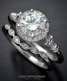 Moissanite Engagement ring set with round halo from 6.5mm Forever One Charles & Colvart in 14kt White Gold by OscargamaJewelry on Etsy https://www.etsy.com/listing/527304325/moissanite-engagement-ring-set-with