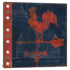 "East Urban Home 'Rooster Vane' by Carol Robinson Graphic Art on Wrapped Canvas Size: 37"" H x 37"" W x 0.75"" D"