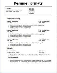resume format types format resume types resume format examples resume format free