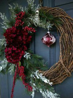 Christmas Wreaths - Holiday Wreath - Winter Wreath - Holiday Decorations - Wreaths for Door - Etsy Wreaths - Wreath - Wreaths by HomeHearthGarden on Etsy Noel Christmas, Rustic Christmas, All Things Christmas, Winter Christmas, Christmas Ornaments, Christmas Planters, Elegant Christmas, Christmas Movies, Etsy Wreaths