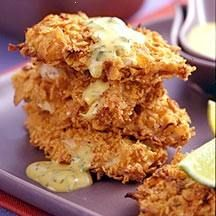 weight watchers crusted honey mustard chicken-  2/3 cup(s) lite honey mustard dressing    1/8 tsp table salt    1/8 tsp black pepper    2 tsp dill, freshly chopped      1 medium uncooked scallion(s), finely sliced    1 cup(s) cornflake crumbs      1 pound(s) uncooked boneless skinless chicken breast(s), four 4 oz pieces