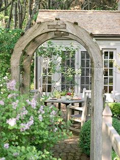 Room Ideas: Longing for an outdoor retreat but not sure where to start?  Come On In  Every indoor room has a doorway, so why not create one for your outdoor room? An arbor or trellis is an inviting entrance to your space, and you can add color with climbing plants such as clematis or climbing roses.