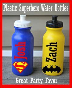 20oz Personalized Superhero Water Bottle Birthday Party Favor - Batman - Superman. $5.98, via Etsy.  Fill with SuperHero candies
