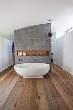 Timber flooring makes for a warm addition to bathroom design! Learn more about how we can install timber flooring in your home http://www.thefloorstore.com.au/timber/styles/engineered-timber/installation