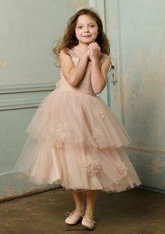 A-line Straps Tea-length in Tulle Flower Girl Dress