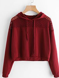 SheIn offers Hollow Fishnet Insert Hoodie & more to fit your fashionable needs. Mode Outfits, Outfits For Teens, Trendy Outfits, Girl Outfits, Fashion Outfits, Fashion Trends, Cute Fashion, Teen Fashion, Korean Fashion