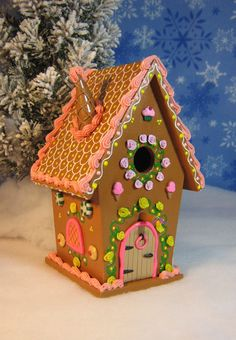 Large Wooden Gingerbread Fairy House w/ pink & by GingerbreadFair