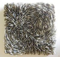 """Luna"" 50 x 50 cm ""bulles d'air"" 30 x 30 cm ""umbrella"" 60 x 30 cm ""hibiscus"" 120 x 60 cm ""magnétique"" 30 x 30 cm. Oyster Shells, Sea Shells, Hibiscus, Bulle D Air, Fireplace Art, Paper Artwork, Seashell Art, Book Folding, Wave Pattern"