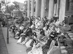 Hanging out: Extras are seen gathered on the steps of a set for Gone with the Wind. Image courtesy of Harry Ransom Center.